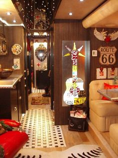Inside of ML tour bus ..outfitted by Junk Gypsies