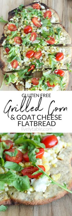 A delicious gluten-free grilled corn and goat cheese flatbread pizza featuring the best of summer produce, creamy goat cheese, and a whole grain crispy crust finished on the grill for the perfect warm weather meal or appetizer! | #glutenfree #flatbread #g