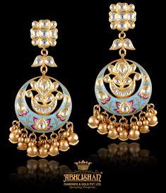 Magnificent Earring only from Abhushan Jewellers, Agra. Indian Jewelry Earrings, Funky Earrings, India Jewelry, Gold Hoop Earrings, Gold Jewelry, Jewelery, Diamond Bangle, Diamond Earrings, Wedding Earrings