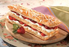 This exquisite dessert, combining puff pastry, sliced strawberries and white chocolate cream, looks difficult to make...but it isn't. Plus, you can make it up to four hours ahead of time, so it's ready when you are.