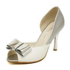 White Silver Kitten Heeled Pumps Rehearsal Dinner Shoes.