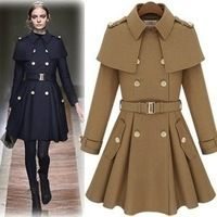 2014 new autumn and winter women fashion long pea coat double-breasted woolen coat cape shawl jacket outwear casacos femininos