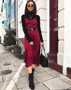 Berry Silk slip dress bordeaux real silk satin slip dress prom gown Silk bridasmaid dress Prom s Source by turtleneck outfit Outfits Casual, Mode Outfits, Winter Outfits, Fashion Outfits, Dresses In Winter, Fashion Trends, Womens Fashion, Fashion Ideas, Petite Fashion