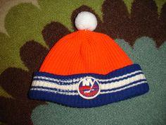 28d23d5b0d3f1a Vintage 1970's 80s NY Islanders Hockey Knit Pom Pom Hat Cap Striped Mens  Unisex RARE.