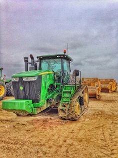 John Deere Tractor with scraper pans