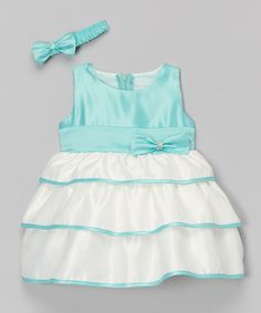 This Aqua Green Bow Tiered Dress & Headband - Infant & Toddler by Shanil is perfect! #zulilyfinds