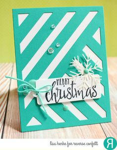 Card by Lisa Henke. Reverse Confetti stamp set: Christmas Blessings. Confetti Cuts: 2 way Stripes Cover Panel and Snowflake Trio. RC Cardstock: Cloud White and RC Aqua. Christmas card. Holiday card. Winter card.