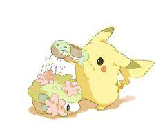 Pikachu, Shaymin, Squirtle (by ベルちぁん, drawr)