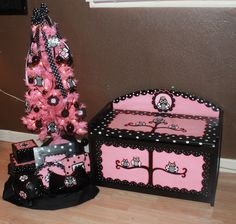 pink and black handpainted owl toy box and matching tree