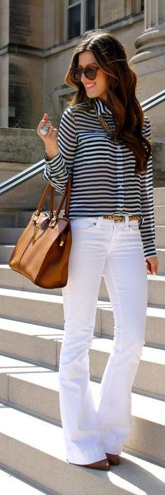 Calça flare+ blusa listrada