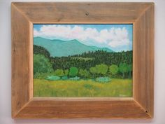 Trees, mountains and clouds. recycled wood frame. Buy at www.robertpricegallery.etsy.com