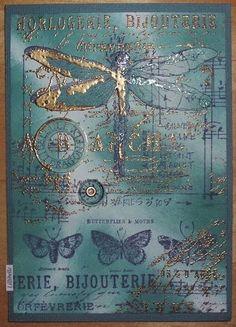 Heute habe ich mal wieder mit Türkis und Blau gestempelt, gewischt und mit Gold embosst. Die Libelle und zwei Spruchkreise habe ich separ...
