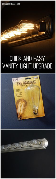 Upgrade your builder grade vanity light with spray paint and fancy light bulbs - Home Decor Like Fancy Light Bulbs, Easy Light, Vanity Lighting, Bathroom Lighting, Bathroom Light Bulbs, Kitchen Lighting, Diy Lampe, Edison Lighting, Edison Bulbs