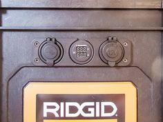 USB ports, volt/amp meter and lighter socket mounted on box face Ham Radio Kits, Tool Box On Wheels, Ridgid Tools, Go Kit, Volt Ampere, Ham Bone, John Wright, Emergency Preparedness, Lighter