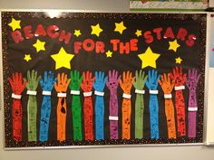 Display board-reach for the stars. Space Bulletin Boards, Kindergarten Bulletin Boards, Birthday Bulletin Boards, Classroom Bulletin Boards, Kindergarten Graduation, Star Themed Classroom, Space Theme Classroom, Stars Classroom, Classroom Decor