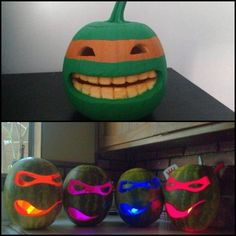 Cool Half Painted & Half Carved Ninja Turtle Pumpkin AND Ninja Turtle Watermelons with Glow Sticks!!!