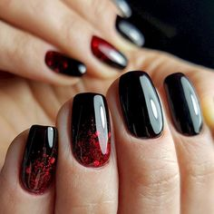 nails red and black acrylic / nails red and black - nails red and black design - nails red and black acrylic - nails red and black prom - nails red and black matte - nails red and black glitter - nails red and black ombre - nails red and black coffin Short Nail Manicure, Black Nails With Glitter, Black Coffin Nails, Black Acrylic Nails, Black Nail Art, Manicure E Pedicure, Manicure Ideas, Matte Nails, Red Black Nails