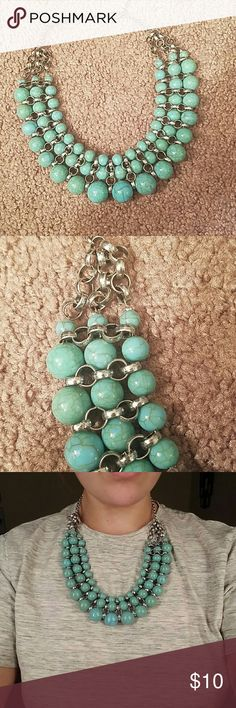 Turquoise Blue beaded necklace with silver clasps Great statement piece for all times of the year. Looks great with a black top and Jean jacket. Modeled photo is on the largest setting Maurices Jewelry Necklaces