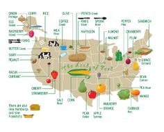 """Starting a collection of food maps. What would our geographies start to look like if we viewed them through food? This one's from Nigel Holmes, who asks: """"Lots of places in the US are named for food. I wonder what that says about us?"""" http://nigelholmes.com/graphic/food-map-navigator-magazine/"""