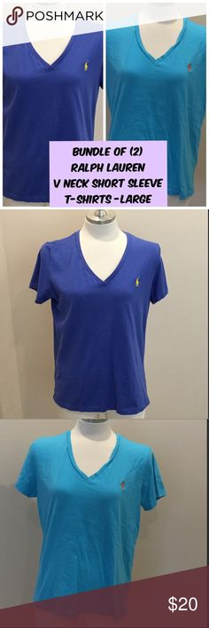 Bundle 2 BLUE Ralph Lauren V Neck T Shirts Large 1 - Royal Blue Ralph Lauren Short Sleeve V Neck T Shirts Size Large.  1 - Aqua Blue Ralph Lauren Short Sleeve V Neck T Shirts Size Large.   Both in Excellent Used Condition.  Also available separately in my closet. Ralph Lauren Tops Tees - Short Sleeve