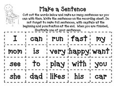 Make a Sentence Game for Kindergarten... Great for morning work! Could also make this with simple Spanish words and have the students use to put together sentences. Could make one for key lessons!