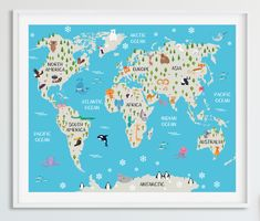 Childrens World Map In Spanish Spanish Map Kids World Map Animal - Printable childrens world map