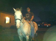 Riding bareback.