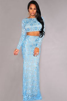 04e916a01b Blue Lace Open Back Long Sleeves Maxi Skirt Set US  10.9 A fit for a