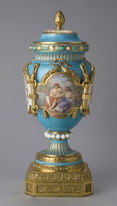Vase with Lid Model probably by Étienne-Maurice Falconet, French, 1716 - 1791. Made by the Sèvres porcelain factory, Sèvres, France, 1756 - present. Geography: Made in Sèvres, France, Europe Date: c. 1765, with later decoration Medium: Soft-paste porcelain with enamel and gilt decoration