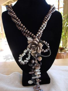 One Of A Kind-Baroque Pearl Necklace with Silver Rose Pendant-Must See on Etsy, $125.00