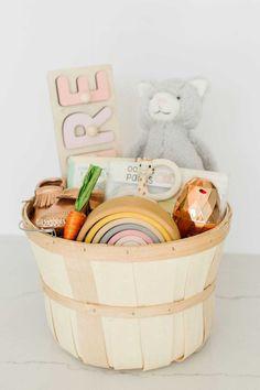 Easter Basket Ideas for Baby & Toddler Girls Easter Baskets For Toddlers, Easter Gift Baskets, Easter Basket Ideas, Easter Basket For Babies, Gift Basket Ideas, Easter Ideas, Gift Ideas, Baby's First Easter Basket, Easter Baby