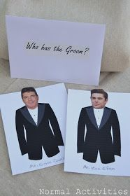 Might need to host a bridal shower one day....Who Has the Groom game. Tuxedo printable