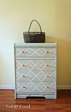 Waterfall Chest of Drawers Makeover. Annie Sloan Chalk paint bright orange hardware and delicate hand-painting create a whole new look for an art deco chest. Hand Painted Dressers, Painted Chest, Hand Painted Furniture, Repurposed Furniture, Art Deco Furniture, Furniture Projects, Furniture Makeover, Cool Furniture, Painting Furniture