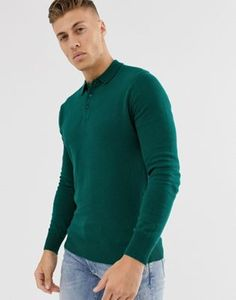 Brave Soul knitted long sleeve polo in green at ASOS. Shop this season's must haves with multiple delivery and return options (Ts&Cs apply). Smart Casual Men, Work Casual, Stylish Mens Fashion, Womens Fashion, Asos, Brave, Long Sleeve Polo, Jacket Style, Elegant