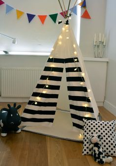 Teepee Play Tent -tipi- Black and White - Monochrome - Poles included. £125.00, via Etsy.