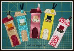 MARCAPÁGINAS..sweet little houses! Scrap Fabric Projects, Fabric Scraps, Quilting Projects, Sewing Projects, Felt Crafts, Diy And Crafts, Paper Crafts, Crafts For Kids, Bookmarks Kids