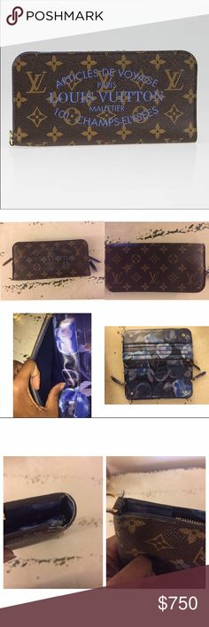 "Louis Vuitton Grand Bleu Monogram Wallet Limited Edition Grand Bleu Monogram Ikat Insolite Wallet Retail Price: $845 * Designer: Louis Vuitton * Material: Monogram coated canvas * Origin: Spain * Production Year: 2013 * Date/Authenticity Code: CA0133 * Measurements: 8.4"" L x 4.25"" H * Closure/Opening: Double snap closure * Interior Lining: Ikat printed cross-grain leather lining  Interior Pockets: Twelve card slots, two zip pockets, two large flat pockets, one short flat pocket and d-ring…"