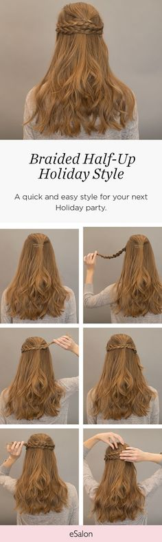 No need to stress about how to style your hair! This easy braid will have you feeling great! Wrap a braid from each side around and pin. It's as easy as that! #esalon #howto #hair #hairstyle #ideas #tutorial #best #style #easy #holiday #party #diy
