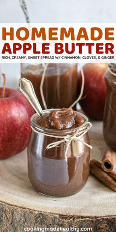 Apple Butter is rich, sweet, and spiced perfectly with cinnamon, cloves, and ginger. Under 100 calories, it is the best topping or spread for Autumn breakfasts, desserts, or snacks.