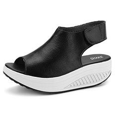3306019bdeb SHAKE Women s Shape Ups Leather Comfort Peep Toe Walking Wedges