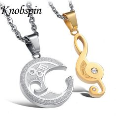 Fashion Couple Combination Treble Clef Necklaces Gold color Classical Music Jewelry 'I LOVE YOU' Stainless Steel pendants #Affiliate