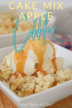 Quick Dessert Recipes, Cake Mix Recipes, Great Desserts, Delicious Desserts, Slow Cooker Freezer Meals, Slow Cooker Apples, Desert Recipes, Fall Recipes, Apple Cobbler Easy