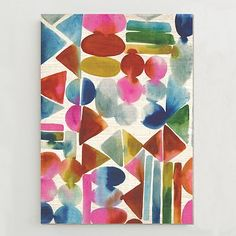 Birch Print - Watercolor Geometrics #westelm  I like this. My Harley Quinn animation cell will be angry to lose her spot on the wall.