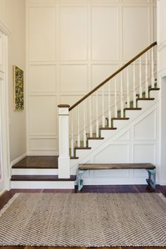 panelled staircase ... this would be transformative in a builder grade entry. totally do-able! Stair Walls, Wainscoting Stairs, Stair Paneling, Panelling, Stairwell Wall, Wainscoating Ideas, White Wall Paneling, Paneling Walls, Wall Trim