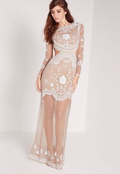 Missguided - Bridal Embellished cut out maxi dress nude/white