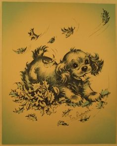 EVE ROCKWELL COCKER SPANIEL PUPPY PLAYING IN LEAVES VINTAGE GREETING CARD CUTE