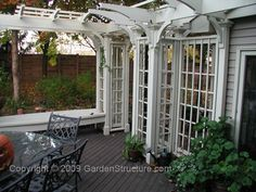 Trellis with pergola attached to home
