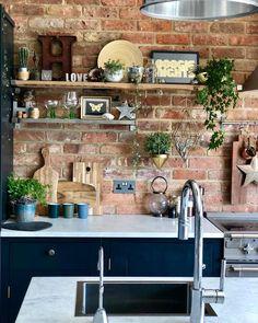 Kitchen, blue kitchen, exposed brick wall, modern rustic, kitchen she Vintage Industrial Furniture, Industrial Bedroom, Industrial House, Industrial Interiors, Rustic Industrial, Modern Rustic, Rustic Luxe, Kitchen Industrial, Industrial Design