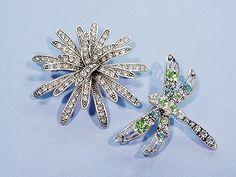 2 Vintage Rhinestone Pins Dragon Fly and 3-D Fireworks / Flower Clear Blue Green