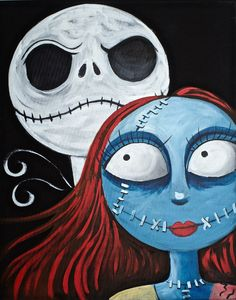 BEGINNERS learn to paint Nightmare Before Christmas inspired Fully guided Halloween tutorial Step by Step on Canvas in Acrylic paint. The Art Sherpa
